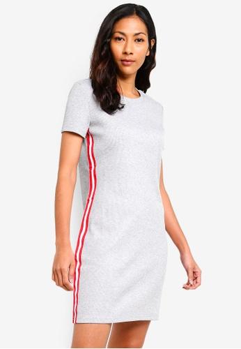 ZALORA BASICS grey Basic Jersey Mini Dress With Side Stripes 652FEAA84B119AGS_1