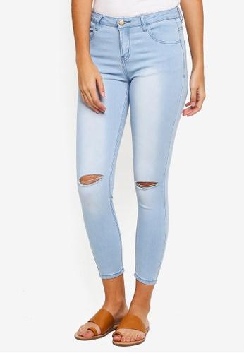 ZALORA blue Knee Rips Skinny Jeans 866B7AA9086608GS_1