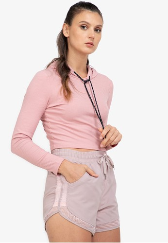 ZALORA ACTIVE pink Ribbed Cropped Hoodie B9A8EAA9F6BAC7GS_1