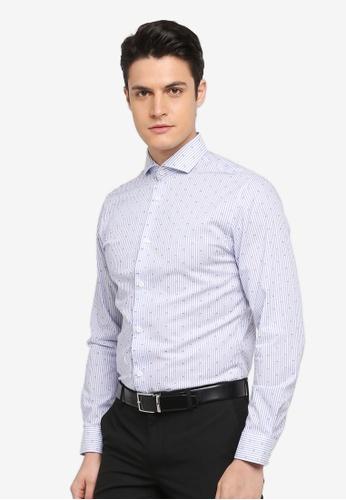 Selected Homme 藍色 長袖條紋襯衫 E7715AADFDD62FGS_1