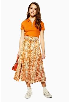 69381149ef TOPSHOP orange PETITE Zebra Pleated Belt Midi Skirt D710BAA6D9E682GS_1