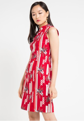 Bateeq red Short Sleeve Cotton Print Dress AC46FAA97560DFGS_1