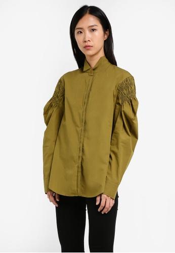 Mango green Ruched Detail Shirt MA193AA0S9MPMY_1