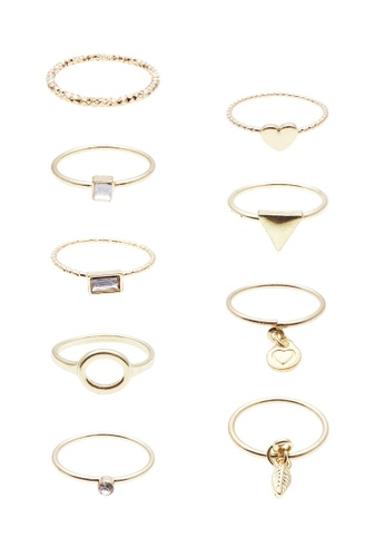 LUCCACAL gold 9 x Mataya Mix Ring Set LU294AC0SS8YMY_1