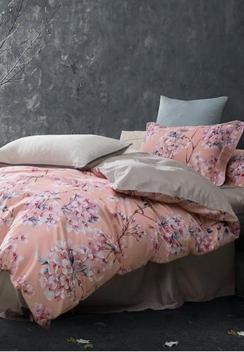 MOCOF grey and pink and multi Tencel Printed IGNATO Duvet Cover Set 1200TC C4851HLF29B5FDGS_1