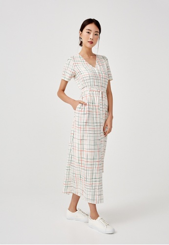 Love, Bonito beige Eunice Tie Front Shirt Dress in Sunburst Check 2A67DAADBC79BEGS_1
