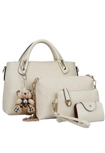 Jackbox white Set of 4 Bear Leather Purse Sling Bag Handbag Tote Bag 908 (White) JA762AC04CTJMY_1