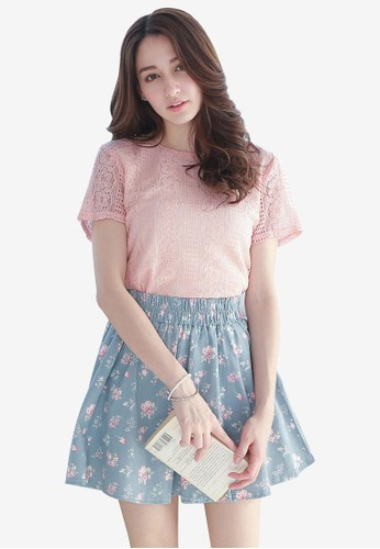 Yoco pink Lace Overlay Top 04DF8AA2971BBCGS_1