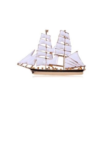 Glamorousky silver Fashion Simple Plated Gold White Sailing Brooch 6E6BAAC1240A96GS_1
