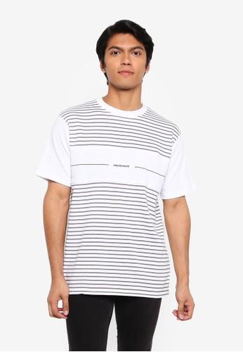 Mennace white Short Sleeves Panel Block Printed Stripe Tee 26E5EAA034770DGS_1