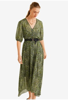806ce248354 MANGO green Flower Print Dress 8AD17AA65B7C92GS 1