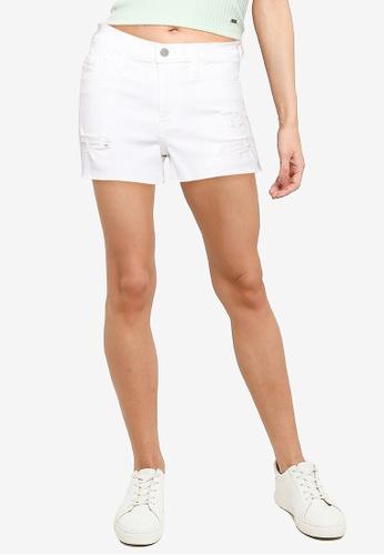Hollister white Destroy Raw Cut Hem Denim Shorts 133CFAAEB4DCA1GS_1