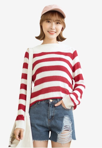 Tokichoi red and multi Basic Long Sleeve Striped Top 6B145AAAD0E3A4GS_1