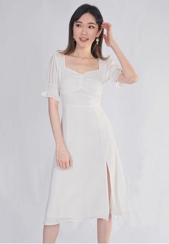 Plain B. white Plain B. Square Neckline Stretchable Sleeve Midi Dinner Dress 03CB3AAD93FE8BGS_1