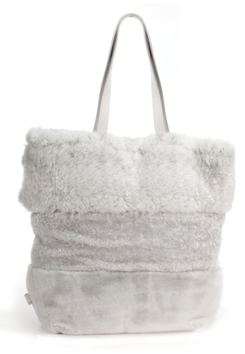 Shu Talk grey LISA CONTE Italian Made Fluffy shopper Bag 51C73ACBA0222CGS_1