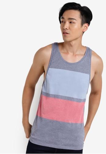 色塊adl esprit印花坦克背心, 服飾, T恤