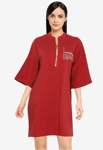 Public Desire red Empowerment Graphic T-Shirt Dress 08A6AAA77520D0GS_1