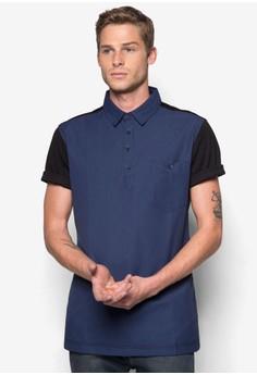 Mix Material 1?2 Placket Short Sleeve Shirt
