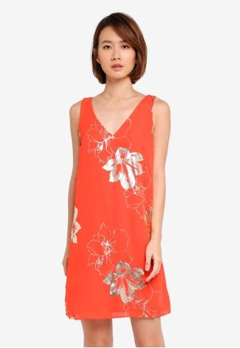 Dorothy Perkins orange Orange Foil Shift Dress ECF76AA6511F82GS_1