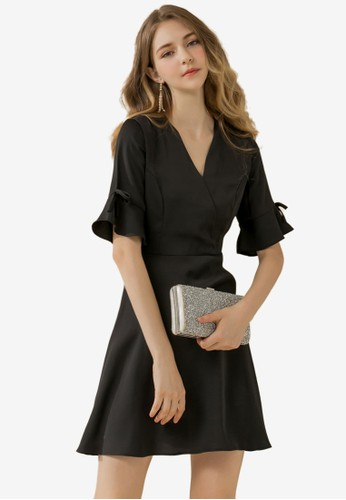 Eyescream black Ribbon Flare Sleeves Dress 959F8AAE7638C3GS_1