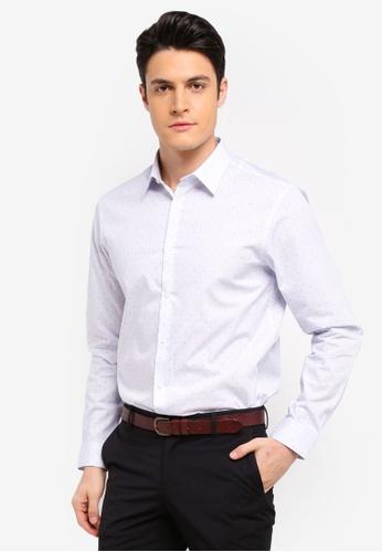 Burton Menswear London 藍色 條紋印花長袖襯衫 D4D99AAE38057FGS_1