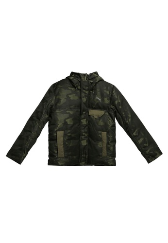 PUMA green Sportstyle Core Streetstyle 480 Hooded Camo Down Jacket DC910AAB5A825DGS_1