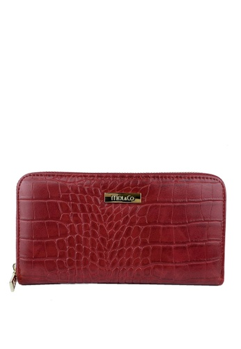 Mel&Co red Faux Leather Croco Zipped Long Wallet 0E381AC5028684GS_1