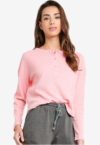 Cotton On Body 粉紅色 短版亨利長袖上衣 0D2DBAAB3C36E6GS_1