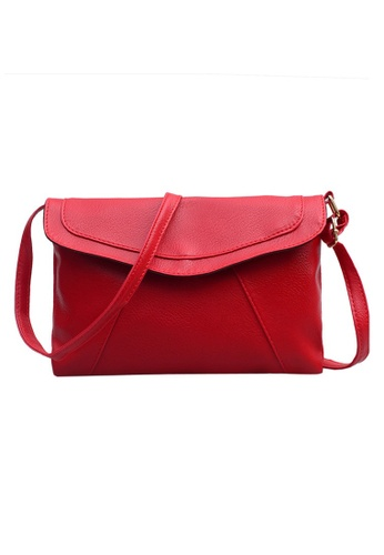 Jackbox red Korean Casual PU Leather Candy Colour Envelope Design Sling Bag 339 (Red) JA762AC0RN99MY_1
