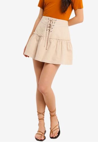 Free People beige Positano Tie Skirt E3912AA275CFE0GS_1