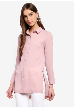 4a57f0cb1cb434 ZALORA pink Long Sleeves Buttoned Down Shirt With Side Slits  0BEDFAAEA0AA0BGS_1