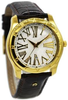 Image of Aigner A32189E Lazio II Jam Tangan Pria Leather Strap Coklat Ring Gold