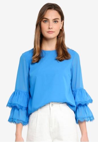 Vero Moda blue Joan 7/8 Top C824DAA36E7009GS_1