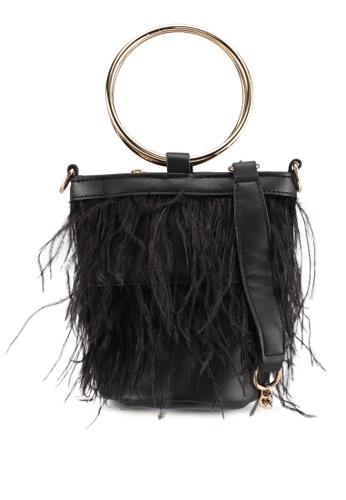 Zalia black Feather Detail Cylinder Bag F7FB6ACC9750A8GS_1
