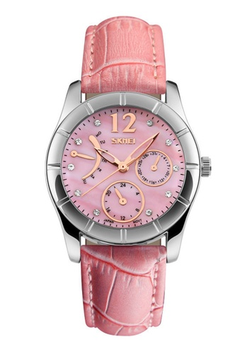 Skmei pink SKMEI 6911 Ladies's Fashion Elegant Quartz Leather Strap Watch (Pink) SK707AC0RXDNMY_1