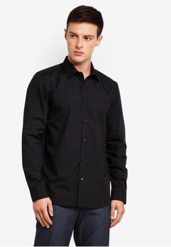 Burton Menswear London 黑色 鈕扣襯衫 B2BC6AA1091DF1GS_1