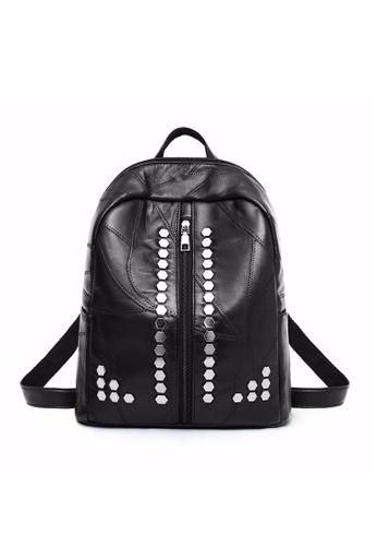 Lara black Women's Rivet Backpack C972DAC21238B1GS_1
