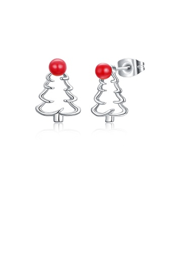 Glamorousky silver Fashion Simple Hollow Christmas Tree Stud Earrings DEC38ACD23703DGS_1