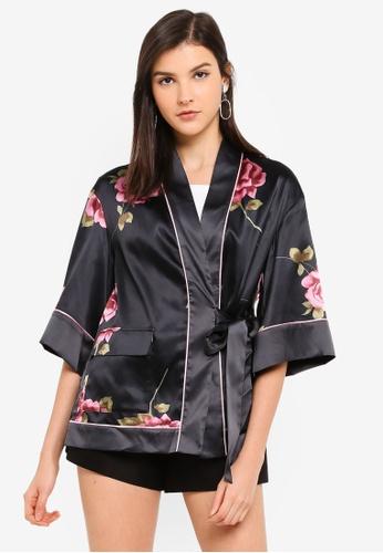 Hopeshow black Kimono Style Floral Jacket 6C0C9AAC8185DAGS_1