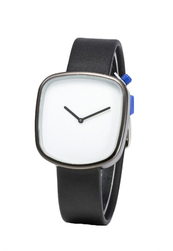 Greatvalueplus black and white Johnson NYA231 Unique Leather Men's Watch 865D3AC7DB3249GS_1