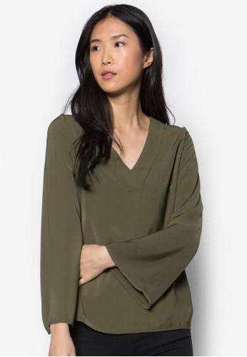 簡約V領zalora時尚購物網的koumi koumi長袖上衣, 服飾, 服飾