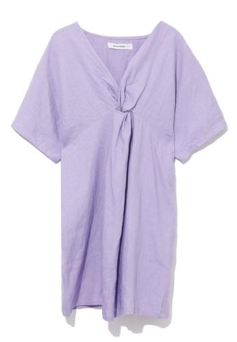 GREENISHPINK purple Twist front relax dress. E5CDDAAB2B3ED0GS_1