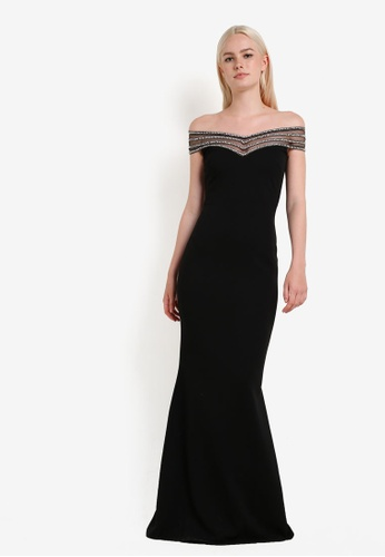 Goddiva black Embellished Neckline Maxi Dress GO975AA60RFVMY_1