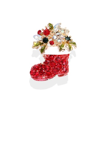 Glamorousky red Fashion Bright Plated Gold Christmas Boot Brooch with Red Cubic Zirconia D9D65AC68F38BAGS_1