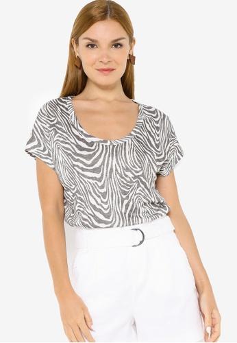 Banana Republic multi Short Sleeve Linen Scoop Neck Tee 95355AAC1820FCGS_1