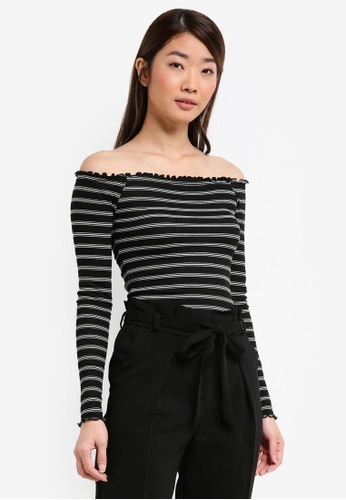 Miss Selfridge multi Stripe Lettuce Bardot Top 5A532AA90AC143GS_1