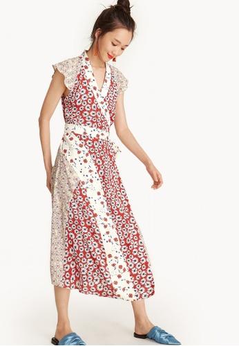 Pomelo multi Midi Cap Sleeve Satin Wrap Dress - Floral 78EFBAA90F6DA1GS_1