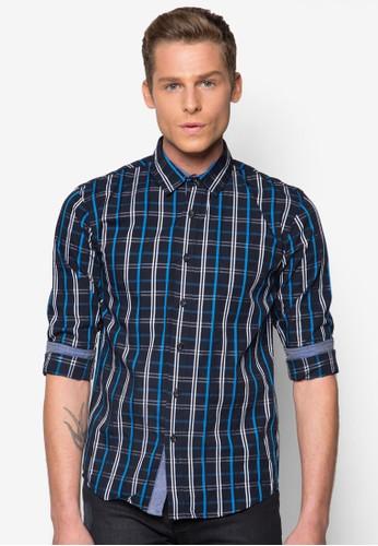 格紋長esprit暢貨中心袖襯衫, 服飾, 襯衫