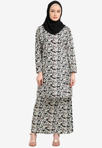 Azka Collection black and multi English Cotton Baju Kurung AZ019AA0RTSKMY_1