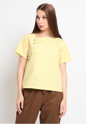 et cetera yellow Boxy Cotton Blouse E8D70AA51FD907GS_1